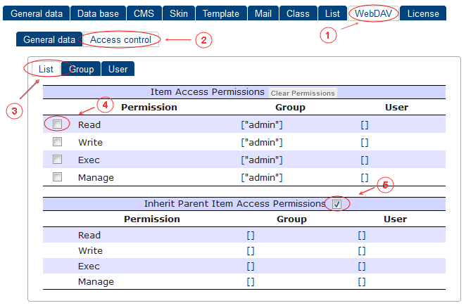 WebDAV Access Control List | CMS Tools Setup | Documentation (image)
